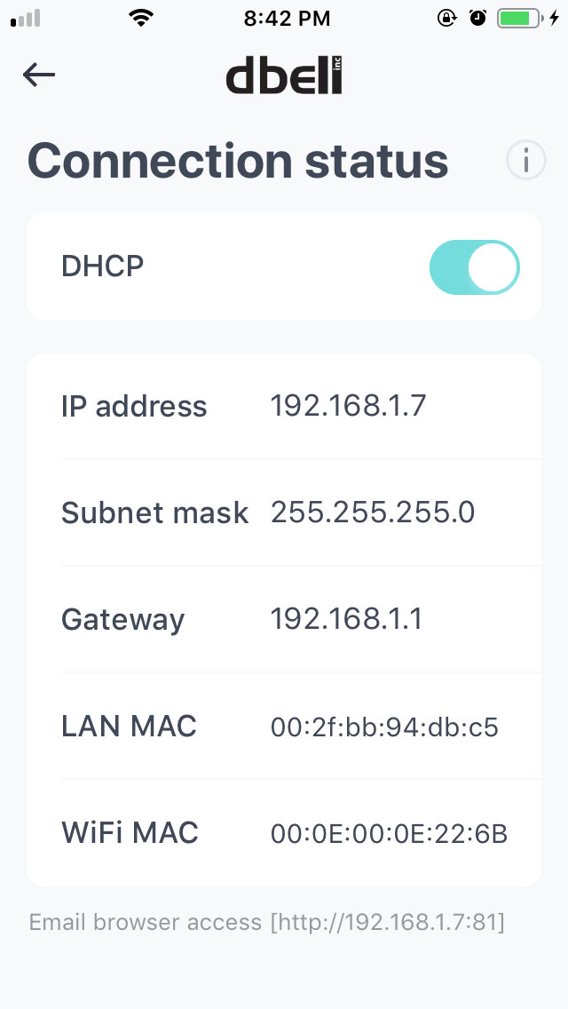 Access your doorbell from a browser – dbell support